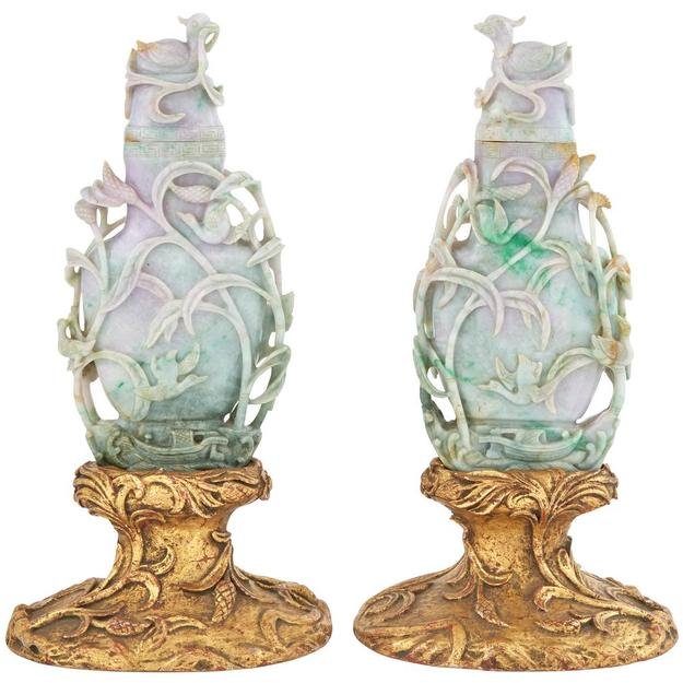 Pair of Chinese Jade Covered Vases, Qing Dynasty, Height of vase 10 inches.  Estimate: $12,000-18,000