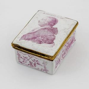 Lot 459, a rare Battersea enamel box, c1761m est £5000-£7000