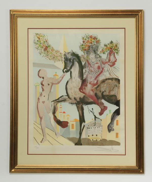 Salvador Dali (Spanish, 1904-1989) color lithograph with applied gilding, titled Harbinger, from the artist's 'New Jerusalem Suite,' artist-signed.