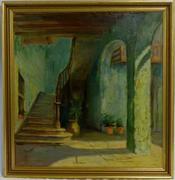 Oil on canvas painting by Henry Ossawa Tanner (Am., 1859-1937), done circa 1903 and titled The Stairwell, Granada, artist signed (est.  $2,000-$4,000).