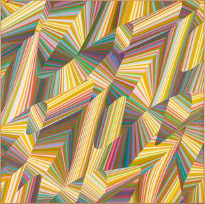Samia Halaby (Palestinian, b.  1937) #270 (Rainbow Spirals), Oil on canvas.