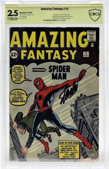 Marvel Comics Amazing Fantasy issue #15 (Aug.  1962), signed by the legendary comic illustrator Stan Lee (est.  $8,000-$12,000).