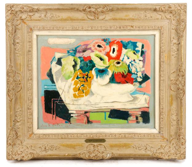 Lovely Fauvist-style oil on canvas painting signed by French artist Jean de Botton (Fr., 1898-1978), titled Fleurs Joyeuse, circa 1966-1971 ($5,890).