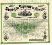 This scarce 1865 bond from the Republic of Mexico, signed by a general who was sent to the U.S.  as a secret agent after France invaded Mexico in the 1860s, sold for $8,555 at auction.