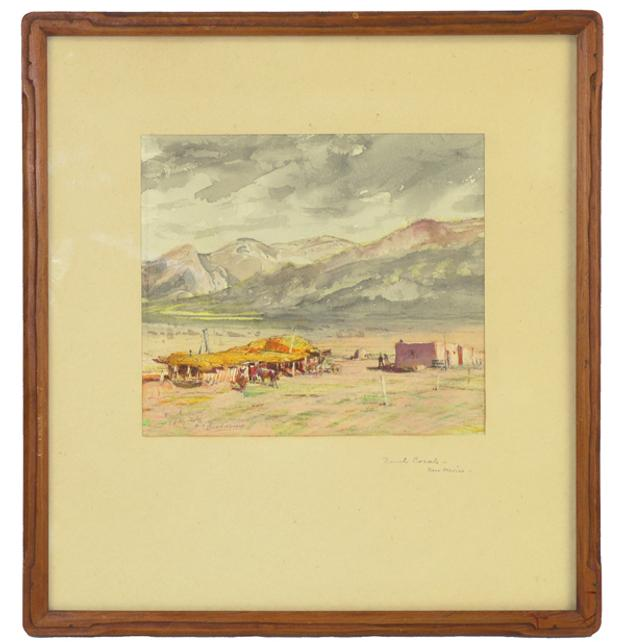 Circa-1940 watercolor painting by Oscar Berninghaus (Am., 1874-1952), titled Ranch Corals, New Mexico, housed in the original frame (est.  $6,000-$12,000).