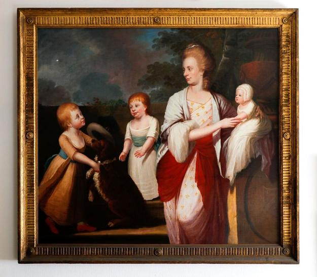 Oil on canvas portrait from the Circle of Sir Thomas Beech (Br., 1738-1806), titled Miss Ann Congreve with Three Children (1780), signed and dated (est.  $8,000-$12,000).