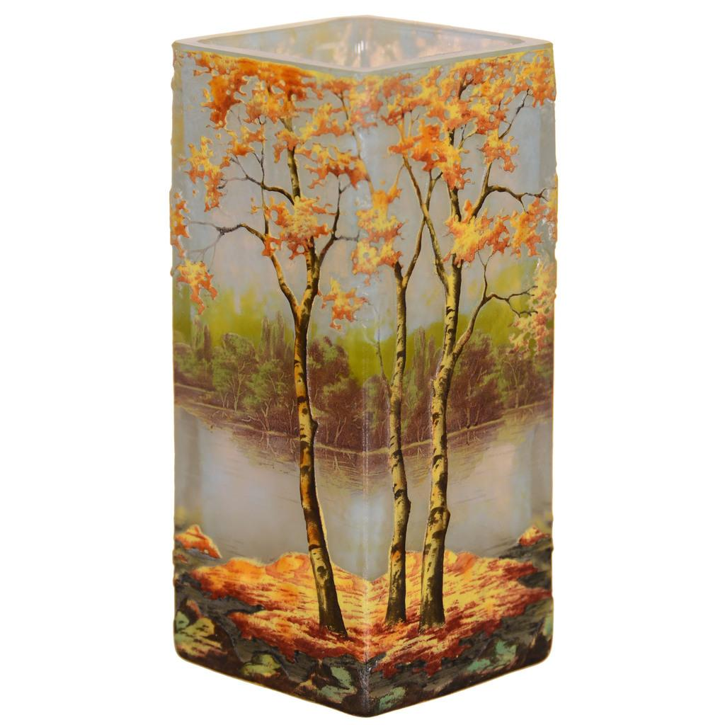 Daum Nancy French cameo art glass vase, 4.75 inches tall, signed, with gorgeous colors and a fall season decor, one of many Daum Nancy pieces in the auction.