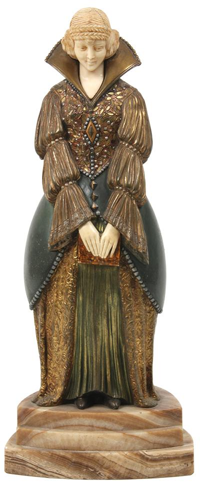 This bronze and ivory statue by Dimitri Chiparus (Rom./Fr., 1886-1947), depicting a young woman, will be sold at auction Feb.28.