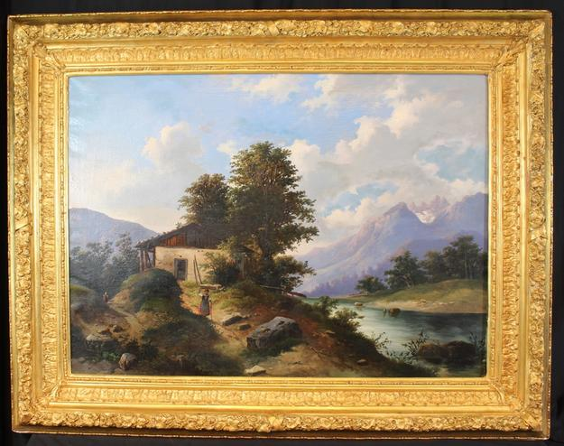 Large 19th century oil on canvas painting of a Swiss Alps cottage, housed in the original gold gilt frame.