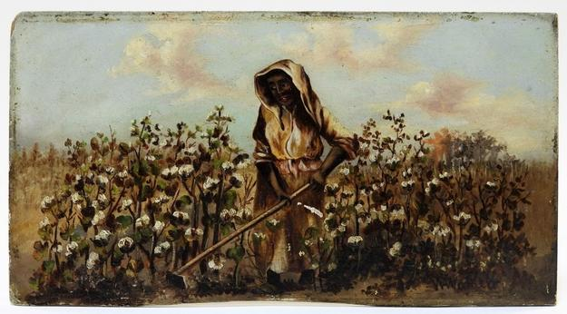 Oil on board painting by William Aiken Walker (Md./S.C., 1838-1921), depicting a female sharecropper hoeing a cotton field (est.  $5,000-$8,000).