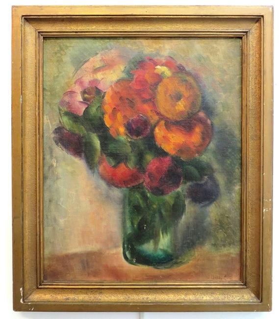 This oil on board painting of a vase with flowers by Michael Dasburg (Am., 1887-1979) is expected to sell for $2,000-$5,000.