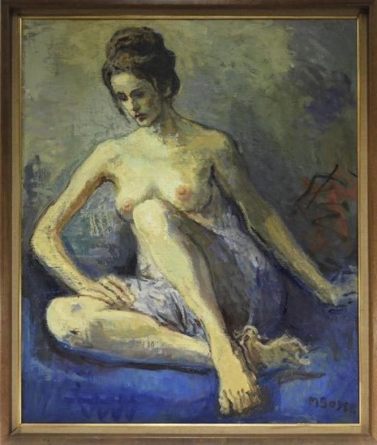 Oil on canvas of a seated female nude in contemplation by the social realist Moses Soyer (Russ./Am., 1899-1974), expected to realize $2,000-$3,000.