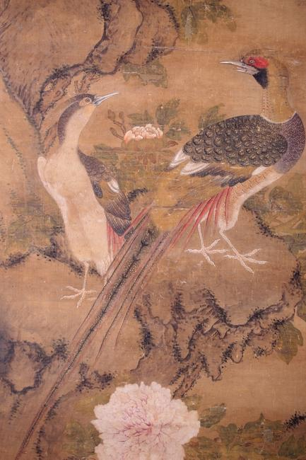 Detail - Lot 194: Attributed to Bian Lu (Uighur, Yuan Dynasty, d.  1356) Flowering Tree with Birds, Ink and watercolor on silk, Signed Bian Lu lower right.