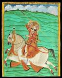 After Nainsukh of Guler (Late 18th / Early 19th Century) Portrait of Raja Balwant Dev Singh on Horseback,