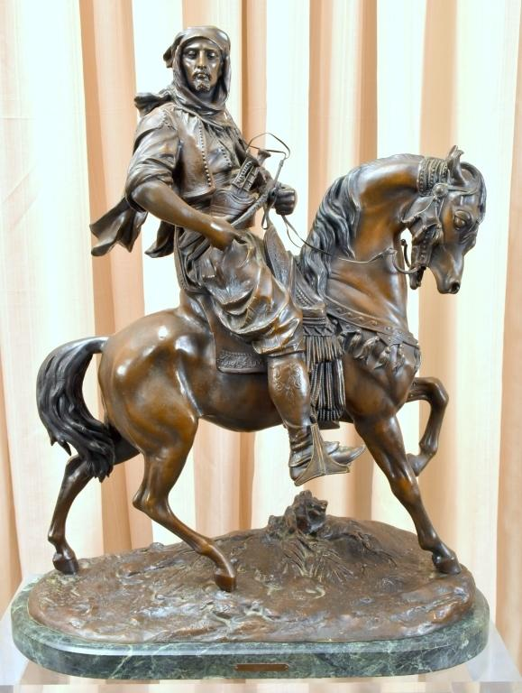 Stunning bronze statue of an Arab figure riding horseback by the renowned French sculptor Antoine-Louis Bayre (1795-1875), 30 inches tall on an acrylic stand.