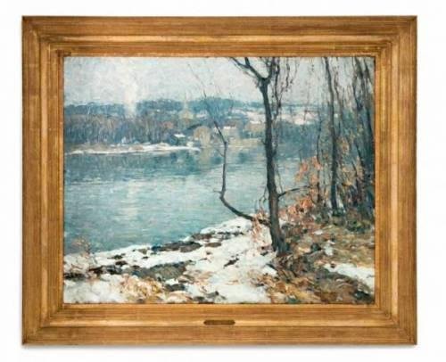 Original oil painting signed by John Folinsbee (Am., 1892-1972), titled River at New Hope (est.  $25,000-$35,000).