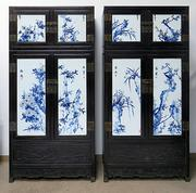 Pair of antique Chinese zitan and porcelain wardrobes, each panel decorated with bamboo and birds, two Chinese characters and the artist's red seal.