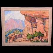 Oil on canvas painting by the renowned Swedish-born American artist Birger Sandzen (1871-1946), titled Cedars and Rocks, one of four Sandzens in the auction.
