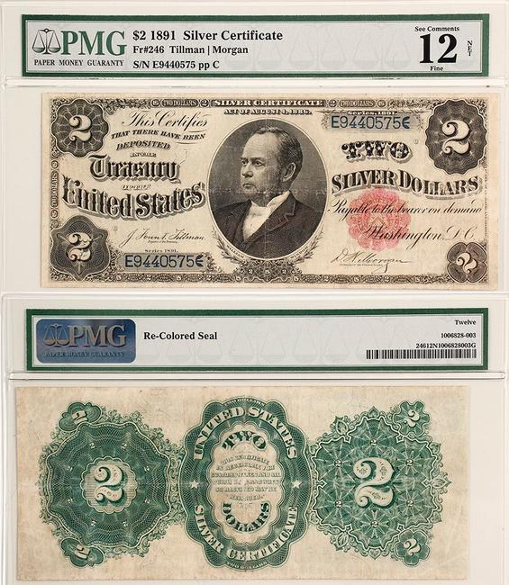 $2 silver certificate from 1891, the only year that had William Windom, the 33rd Treasurer of the United States, pictured on the front, signed by Tillman and Morgan ($1,125).