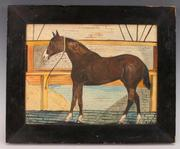 "Charming folk art pencil and watercolor rendering of a horse in his stall, signed ""S.  Mills"" and dated 1860 (est.  $100-$200)."
