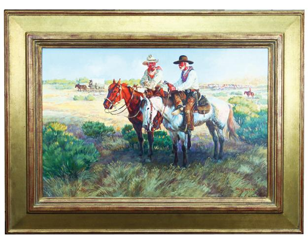 Oil on linen painting by Dave Powell (b.  1954), depicting a scene from the hit film Lonesome Dove, artist signed and framed (est.  $5,000-$10,000).