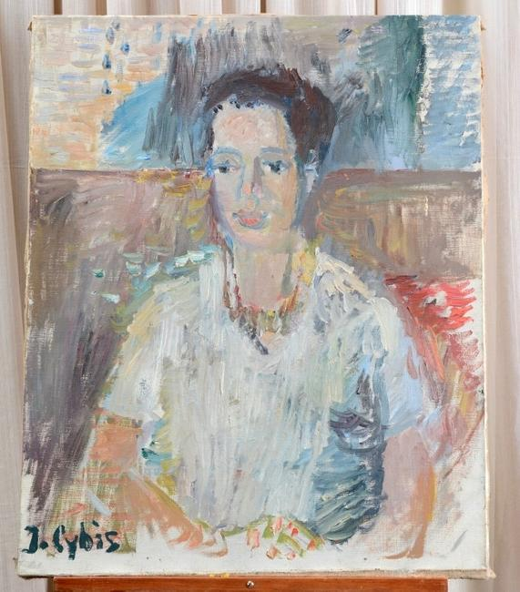 Portrait painting of a young woman by noted Polish artist Jan Cybis (1897-1972), a block-style post-impressionist whose mentor was the German Expressionist Otto Mueller.