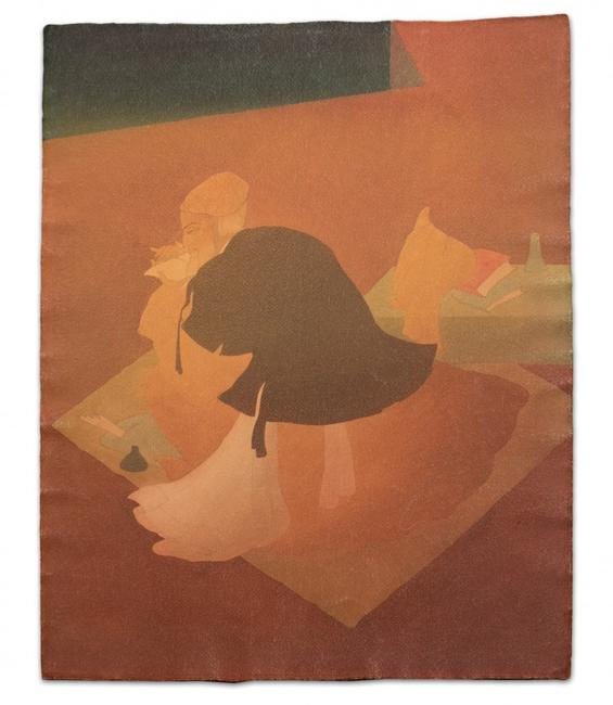 Watercolor painting signed by Pakistani artist Abdur Rahman Chughtai (1897-1975), titled Poetic Expressions, from the private collection of the artist's son (est.  $30,000-$50,000).
