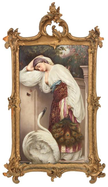 This lovely hand-painted KPM porcelain plaque with a scene of a woman leaning against a wall will be sold at Fontaine's Auction Gallery, Feb.  28.