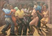 Original oil painting by African-American artist Rex Goreleigh (1902-1986), titled Social Hour (est.  $10,000-$20,000), one of three works by Goreleigh in the sale.