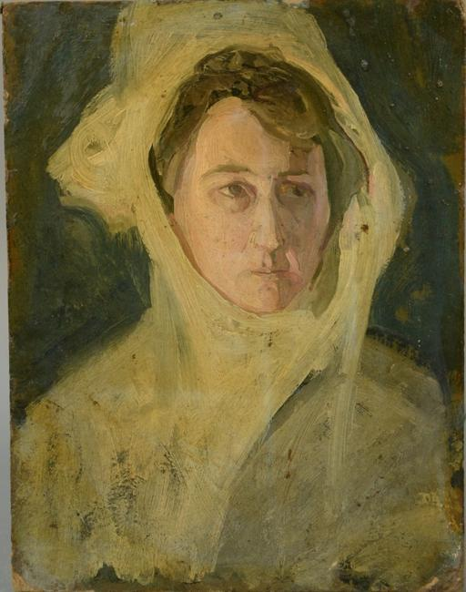Oil on board painting by African-American artist Henry O.  Tanner (1859-1937), titled Portrait of a Woman with a Head Scarf, unsigned (est.  $10,000-$20,000).