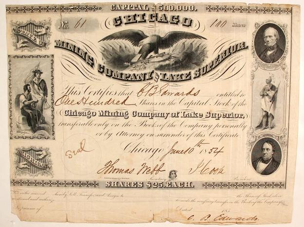Chicago Mining Company of Lake Superior, Michigan stock certificate, issued in 1854 for 100 shares to J.  Sanards and showing four vignettes of men and Native Americans ($2,625).