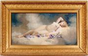 Original painting by California artist Andrew Putnam Hill (1853-1922), a gouache depiction of a reclining nude, housed in a 17 inch by 29 inch gold leaf frame (est.  $5,000-$7,500).