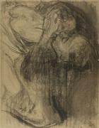 Lot 43 - Käthe Kollwitz (1867-1945) Abschied (Farewell), Charcoal on gray-blue laid paper.