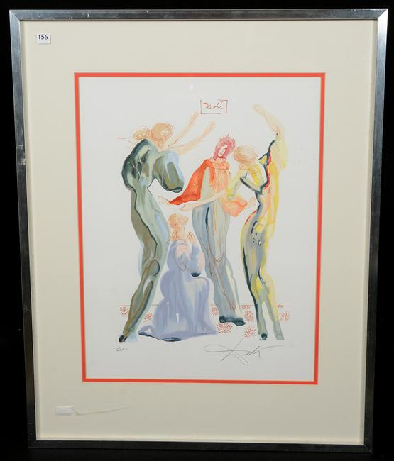 Original woodcut into lithograph print by Salvador Dali titled Dantes & Servant, 30 inches by 24 inches (in the frame).
