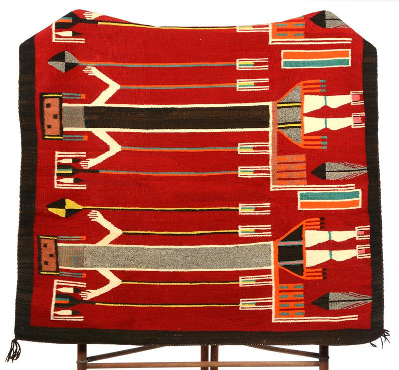This original Native American rug (or blanket) with eight colors, made in 1940 in the Lukuchukai region of Arizona will be sold on July 11th.