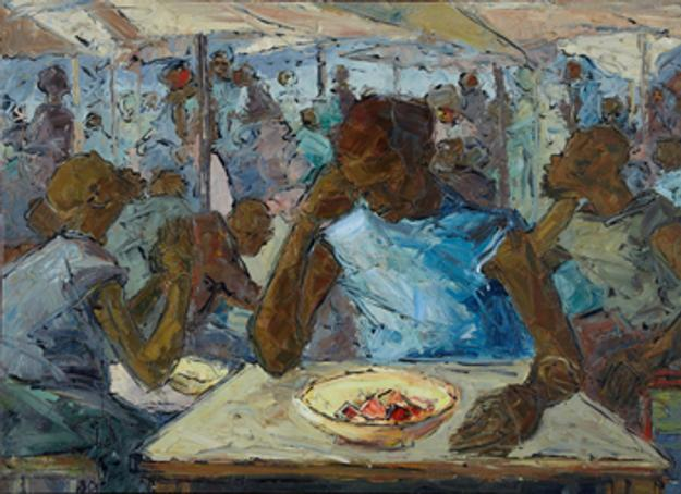 This original oil on canvas painting by the noted Ghanaian artist Ablade Glover (b.  1934), titled Worker's Canteen, will be sold at auction April 16-17 in New Orleans, La.