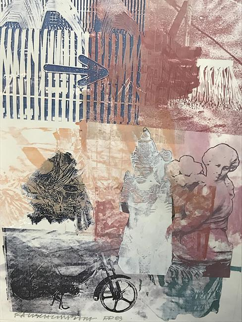 This signed Robert Rauschenberg color lithograph ($700-1,500) embodies the artist's signature collage style with layered images of sculptures, gates, and a motorcycle, 26 ½ by 22 ¼ inches.