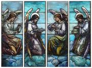 Set of four J & R Lamb Studios stained glass windows, crafted circa 1900, 72 inches tall by 23 inches wide (est.  $12,000-$15,000).