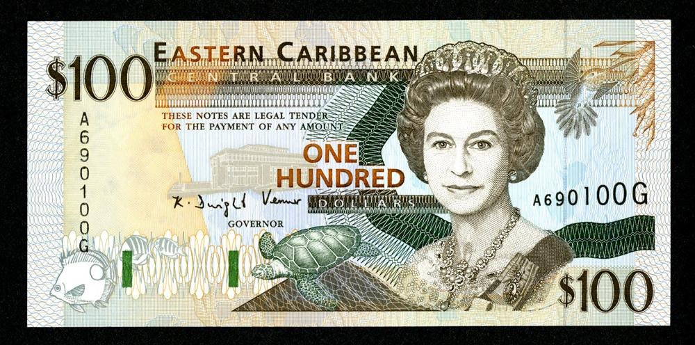East Caribbean Central Bank $100 banknote.