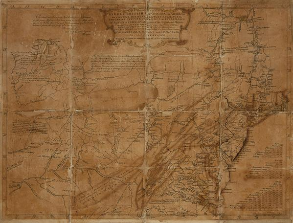 Lewis Evans, A General Map of the Middle British Colonies in America, proof copy, annotated, signed & dated by Evans, Philadelphia, May 2, 1755.  Estimate $30,000 to $50,000.