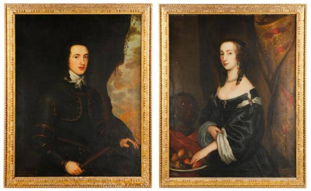 This pair of portraits of British nobility by the English painter John Hayls sold as one lot for $14,160 at the March 5-6 auction.