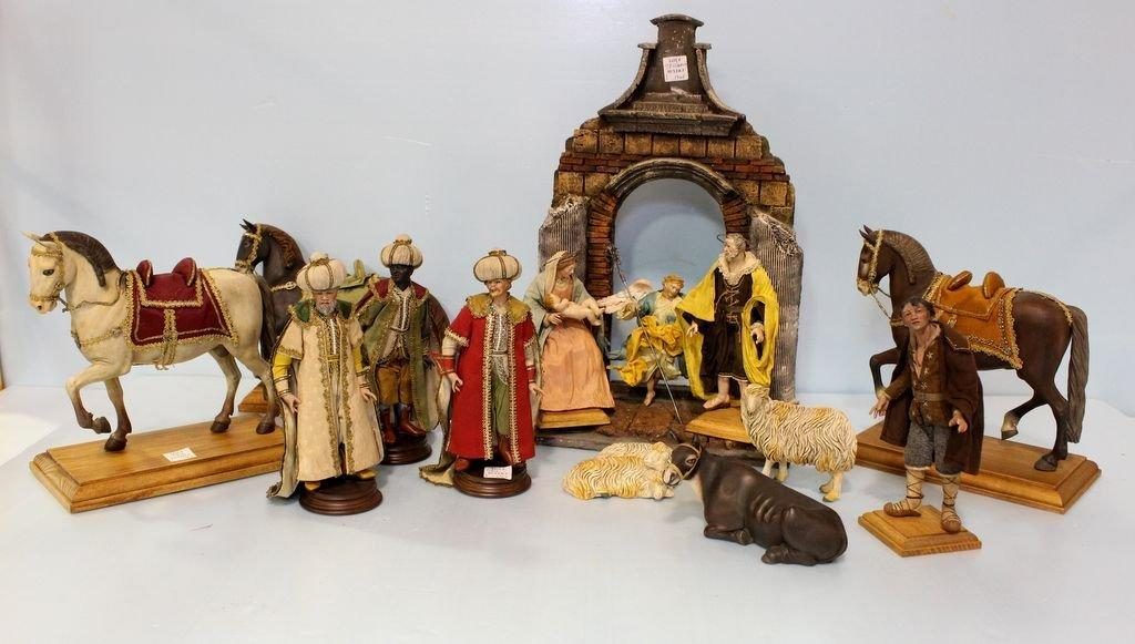 This authentic Cascini Neapolitan hand-made and hand-painted nativity set, with decorated clothing, will be sold at auction May 25th.