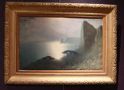 Oil on canvas painting by Russian Federation artist Kharlampi Kostandi (1868-1939), a pretty moonlight seascape measuring 24 inches by 30 inches (est.  $40,000-$60,000).