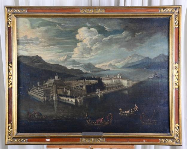 Beautiful 19th century painting done in the manner of Antonio Canaletto (It., 1697-1763), depicting Nero's Castle at Lake Maggione, Italy.