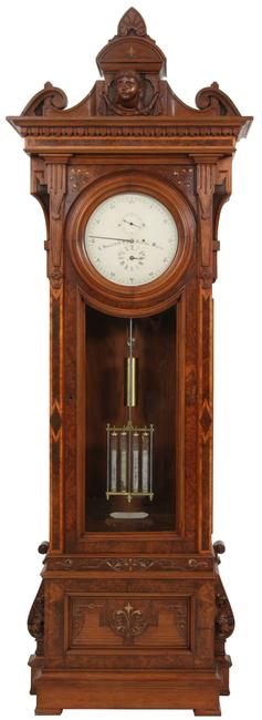 This E.  Howard & Co.  No.  43 astronomical floor regulator ($150/250,000) retains its original and signed 14-inch painted metal dial.