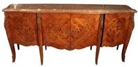 Louis XV style buffet in rosewood with tulipwood, lemonwood and tinted rosewood marquetry and bre'che royal marble top. From Jean-Marc Fray Antiques.