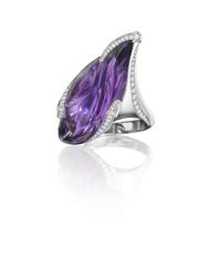Amethyst and Diamond Platinum Cocktail Ring by Naomi Sarna.