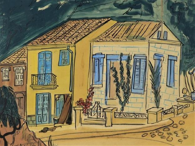Casein paint, ink and pencil on board by Ludwig Bemelmans (Fr./Am., 1898-1962), titled Palma de Mallorca Street Scene, signed and dated 1956 (est.  $6,000-$9,000).