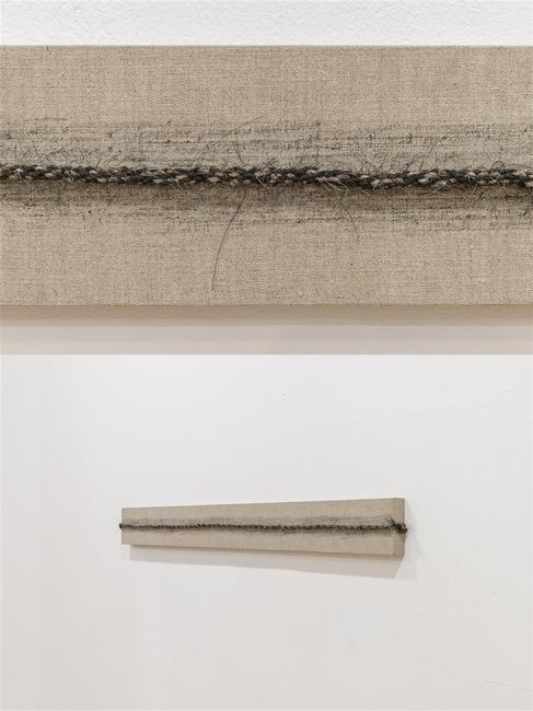 Luisa Valderrama, Chain, horse hair and graphite on Canvas, 5'' x 51'' x 2''