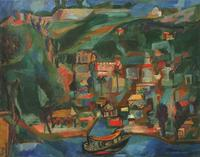 "Mariano Rodriguez, Paisaje de Casablanca, 1943, oil on canvas, 28"" x 36"""